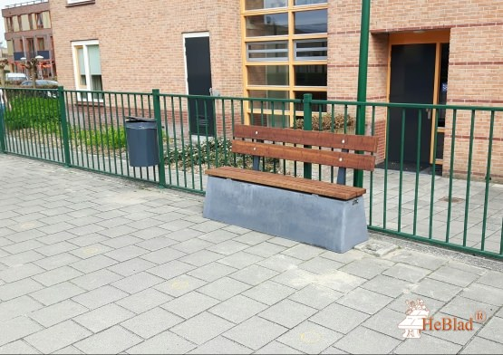 Bench DeLuxe with backrest Anthracite-Concrete