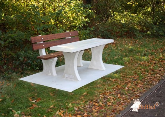 Park bench with table and bottom plate Natural Concrete