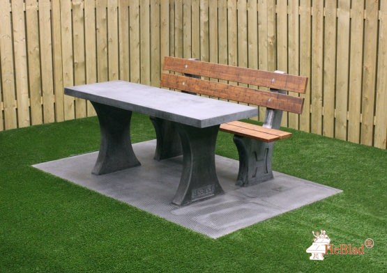 Park bench with table and bottom plate Anthracite-Concrete