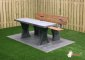 Concrete park bench with table and  bottom plate