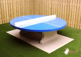 Ping-pong table round with blue playing surface
