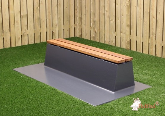 Concrete bench DeLuxe with bottom plate without backrest Anthracite