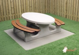 Picnic table DeLuxe Oval Natural Concrete