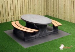 Picnic table DeLuxe  Oval Anthracite-Concrete