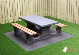 Concrete table with bamboo seats