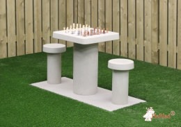 Concrete Chess Table, natural concrete, for 2 people