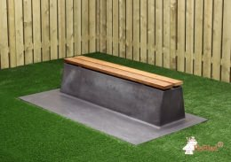 Concrete Bench DeLuxe, Anthracite-Concrete with a bottom plate, without backrest