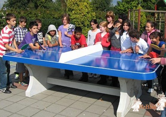 Blue table tennis table,  rounded